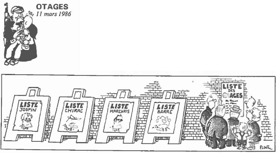Plantu-ça manque de femmes (106) Mars 1986 - otages