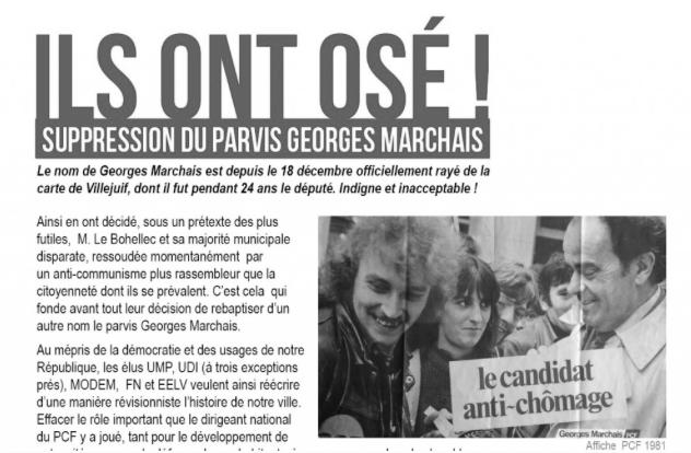comment les communistes de Villejuif ont réagis à la délibération de suppression du parvis Georges Marchais