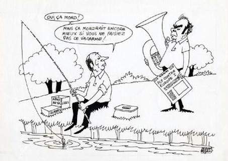 Faizant Jacques - à la pêche avec Mitterrand