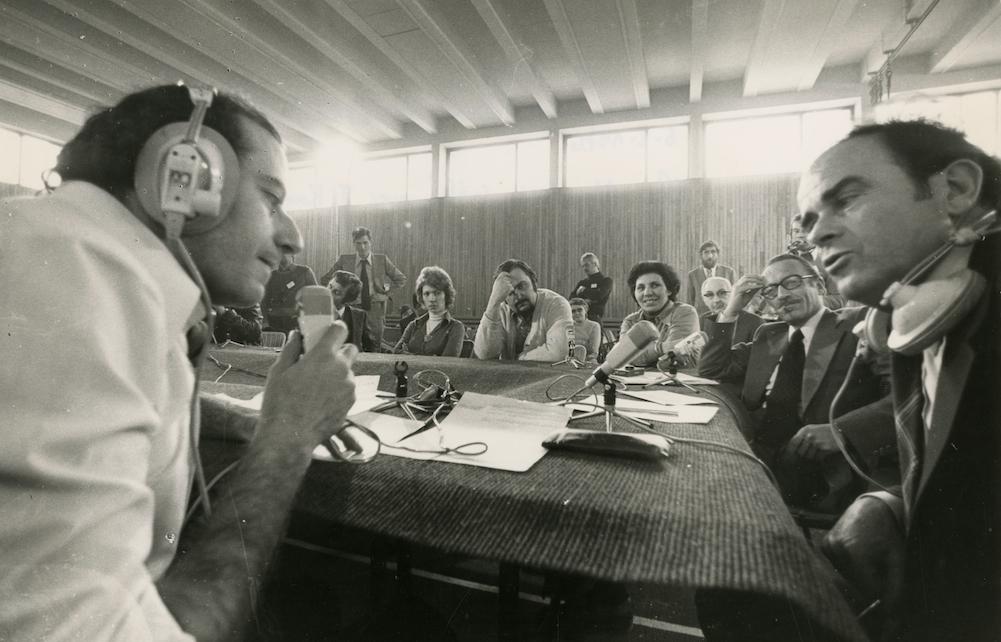 Georges Marchais et Jean-Pierre Elkabbach - 22eme congrès 1976