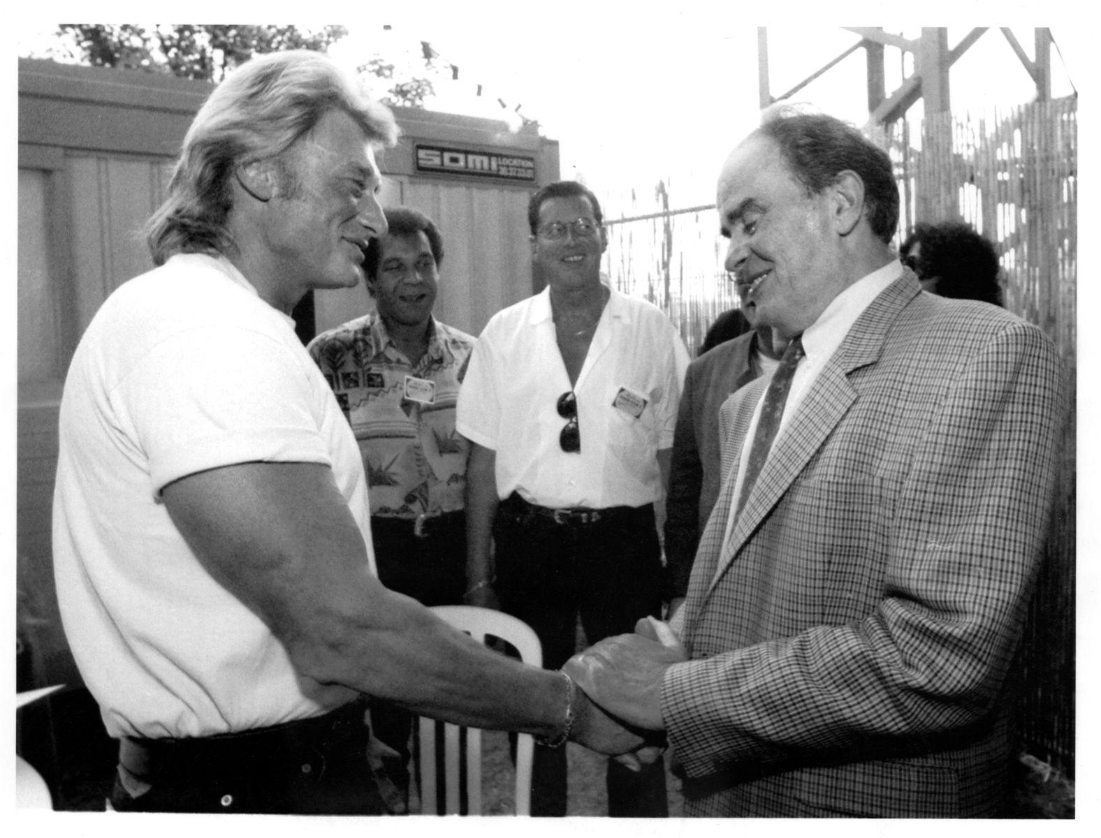 Georges Marchais et Johnny Halliday - fête de l'Huma - 1991